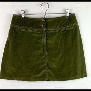 Express skirt vintage velvet mini retro green 9/10
